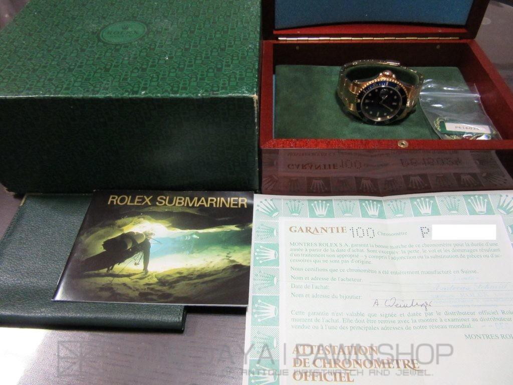 "1661808-1024x768 ロレックス(ROLEX) ""青サブ"" サブマリーナ Ref-16618 P番(2000年) K18YG無垢 ギャランティ・タグ・取説・内外BOX付属"